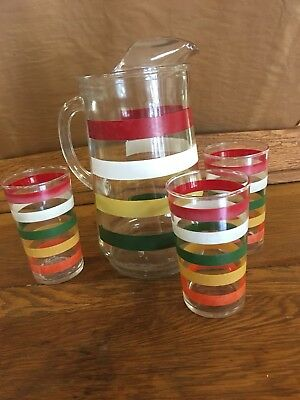 Vintage 50's Fiesta Stripe Tumbler And Pitcher Set