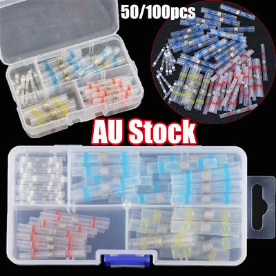 50/100pcs Solder Sleeve Heat Shrink Butt Terminal Wire Splice Connector & Box