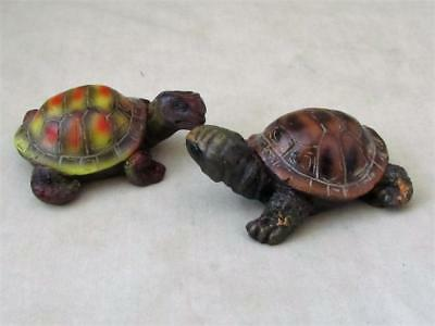 2 Small Baby Land Turtles Tortoises Brown Black Realistic Garden Free Shipping