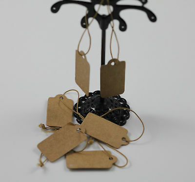 1000 Pcs Tags Blank Kraft Paper With Elastic String Jewelry Price Label 30x15mm