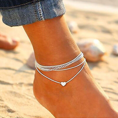 Women Fashion Multilayer Anklet Heart Ankle Bracelet Chain Beach Foot Jewelry