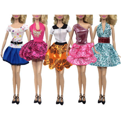 5pcs/kit Fashion Mini Dress For Barbie Doll Handmade Short Party Gown Clothes