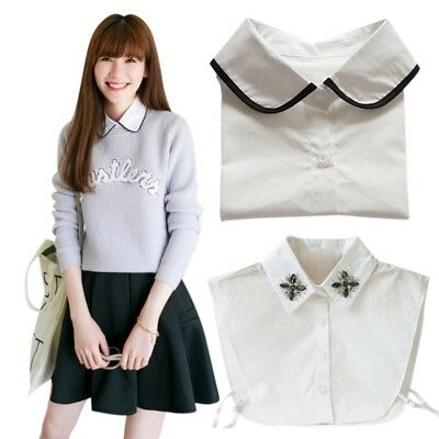 USA Women Men Peter Pan Detachable Lapel Shirt Fake False Collar Choker Necklace