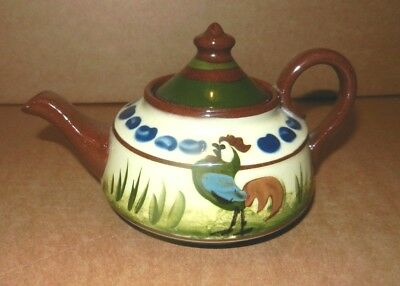 Devon Pottery Motto Ware Longpark   Coloured Cockerel Teapot