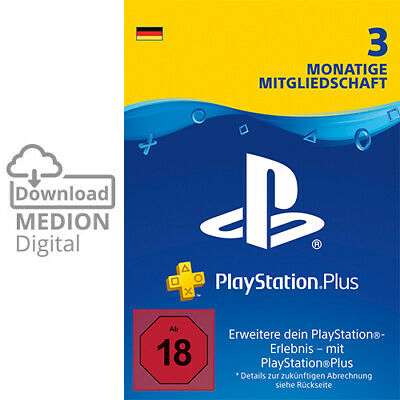Sony PlayStation Plus 3 Monate Mitgliedschaft Download Code PS4 PS3 PS Vita PSP