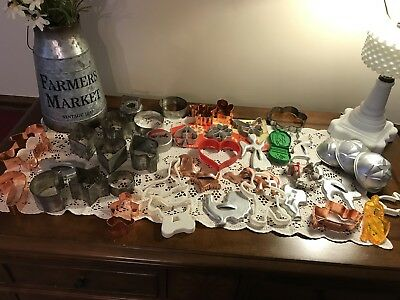 Old Vintage and Some New Variety of 43 Metal, Copper and Plastic Cookie Cutters