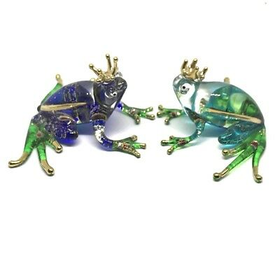 Frog Figurine Amphibians Animal Miniature Hand Blown Glass Reptiles Collectible