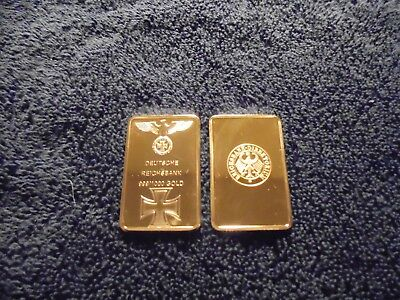 1 Troy Oz 24k Nazi Germany Gold Clad Bar Iron Cross WW2 w/ Airtight case