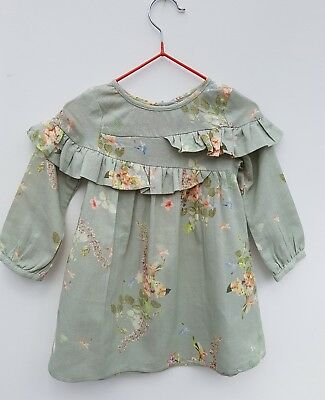 Ex Next Baby Girl Long Sleeve Floral Dress Age 3 6 9 12 18 24 Month RRP £13.00