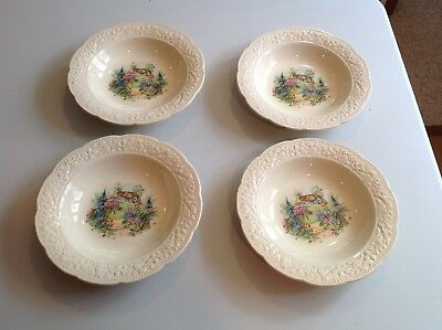 Vintage Edwin M. Knowles China Company - Soup Bowls Lot of 4 Cremelace