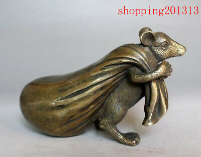 Feng Shui Old China Bronze Copper Zodiac Mouse back Wealth Package Lucky Statue
