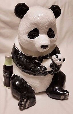 Coca Cola Panda Bear Family Limited Edition  Cookie Jar 2000 rare