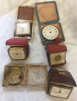 Selection Of Vintage Travel/Alarm Clocks For Spares Or Repair