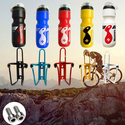 750ML Mountain Bike Bicycle Cycling Water Drink Bottle + Holder Cage Portable UK
