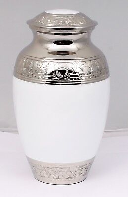 Adult Cremation Urn for Ashes, Funeral Memorial Brass urn White and Silver