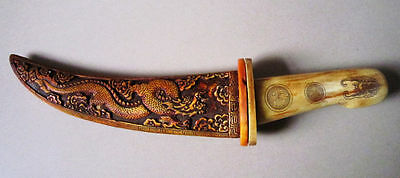 Rare old Chinese bone SWORD Painting dragon Knife