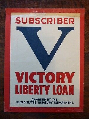 1917 WWI Victory Liberty Loan Subscriber Paper Window Decal Poster
