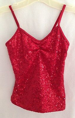 Weissman Red Sequins Front Sleeveless Dance Top - Size LC (10/12)