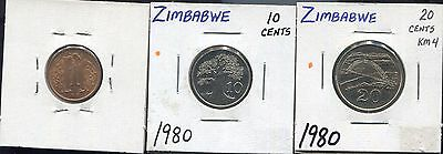 Zimbabwe - Three Fantastic Historical 1980 Coins, 1, 10, And 20 Cents