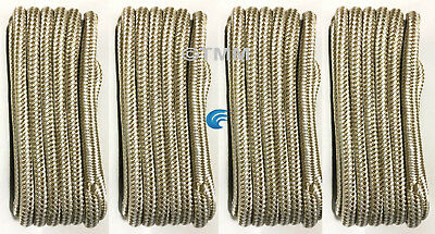 """(4) White & Gold Double Braided 5/8"""" in x 25' ft HD Boat Marine Dock Line Ropes"""