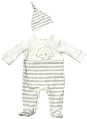 Baby Sleepsuit Hat Set Lamb Velour Sheep Romper Prem Early Baby to 6 Months