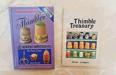 LOT of 2 THIMBLE & SEWING COLLECTIBLE BOOKS Thimble Treasury - Sewing Implements