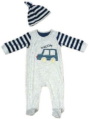 Baby Sleepsuit Hat Set Wroom Racing Car Velour Romper Tiny Baby to 9 Months