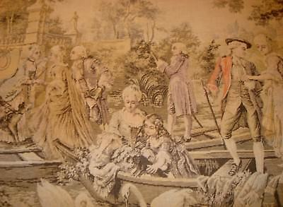 Old Antique 19th century 1800's French Tapestry Wall Hanging Boating Scene 55X37