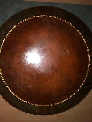 Duncan Phyfe Style Mahogany Leather Top Drum Table