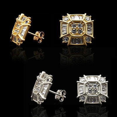 14k Yellow Gold White Gold Created Diamond Push Back Stud Earrings 0.50Ct