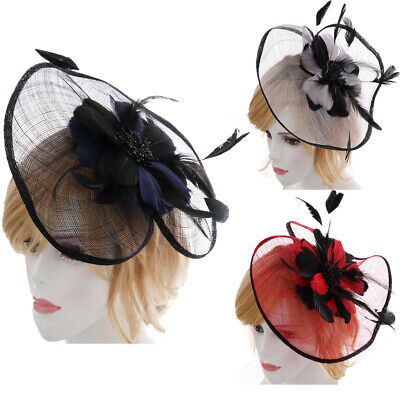 Ladies Flower Feather Fascinator Hat Hair band Clip Formal Race Royal Ascot