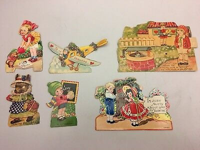 Lot Of 6 Antique 1920s-1930s Valentine Cards Mechanical