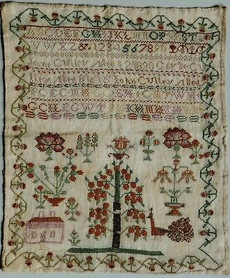 Antique Georgian Sampler 1830 - Jane Culley - Flowers / House / Peacock
