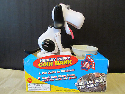 Hungry Puppy Coin Bank - New!  White & Black Hound Dog Bank