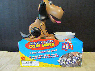 Hungry Puppy Coin Bank - New!  Tan & Black Hound Dog Bank
