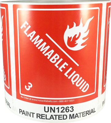 "Hazard Class 3 D.O.T. UN1263 Paint Related Material 4 x 4.75"", 500 Labels"
