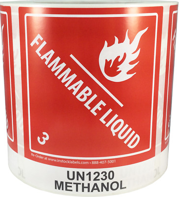 "Hazard Class 3 D.O.T. UN1230 Methanol Flammable Liquid 4 x 4.75"", 500 Labels"