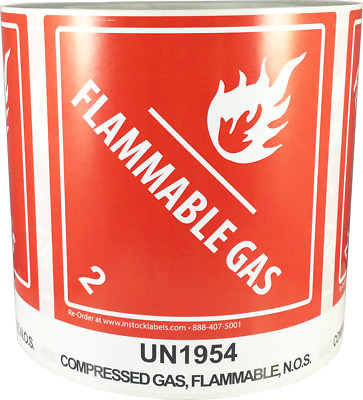 "Hazard Class 2 D.O.T. UN1954 Compressed Gas Flammable N.O.S. 4 x 4.75"" 500 Label"