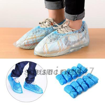 100x Disposable Plastic Anti Slip Shoe Covers Cleaning Overshoes Protective