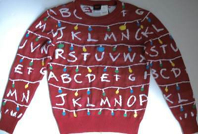 Stranger Things Sweater M Red Ugly Holiday Christmas Lights Up Mens