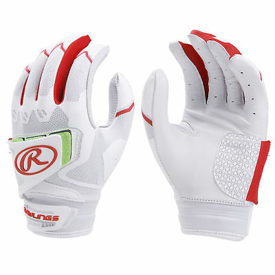 Rawlings Workhorse Pro Womens Fastpitch Softball Batting Gloves White/Scarlet XL