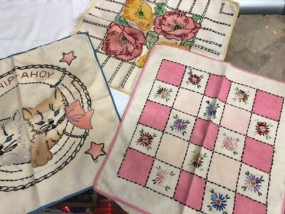 3 Antique Vintage Hand Stitched Embroidered Pillow Covers Floral Kitten