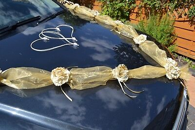 wedding  ribbon  bows car decoration ribbon prom limo  garland  GOLD  IVORY ecru