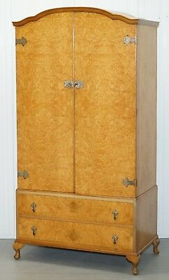 1 Of 2 His & Hers Mid Century Burr Walnut Wardrobes Heirloom Furniture Est 1889