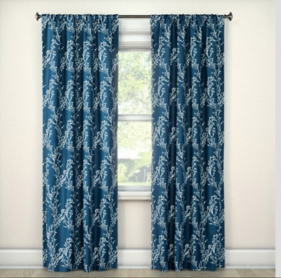 Eclipse Meadow Floral Curtain Panel, Blue Floral, 42″x84″