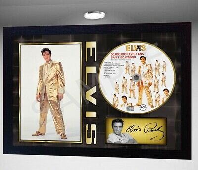 ELVIS PRESLEY 50,000,000 Elvis Fans  SIGNED FRAMED PHOTO CD Disc Perfect gift