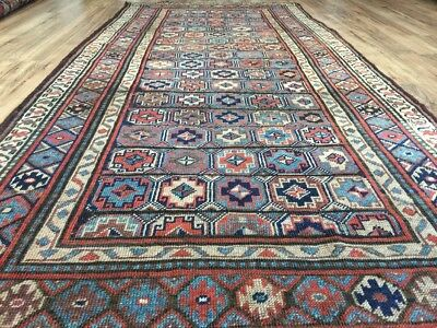 4x9 Hand-Knotted Antique Persian Red Blue Rug Kurdish Runner Early 1900's