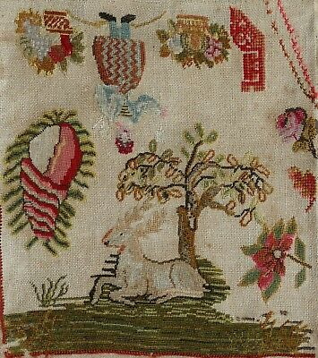ANTIQUE GEORGIAN FOLK ART WOOLWORK EMBROIDERY SAMPLER 1820s - TOPSY-TURVY STAG