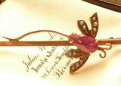 Fabulous Antique Art Deco 9Ct Gold Dragonfly Brooch With Ruby & Seed Pearls