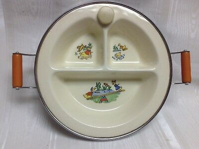 Vintage Excello Divided Baby Warming Dish/Plate-Ducks-Chromium